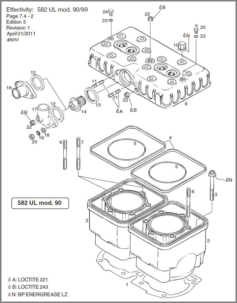 skydrive products cylinder head diagram for a v-twin 582 cylinder, cylinder head diagram