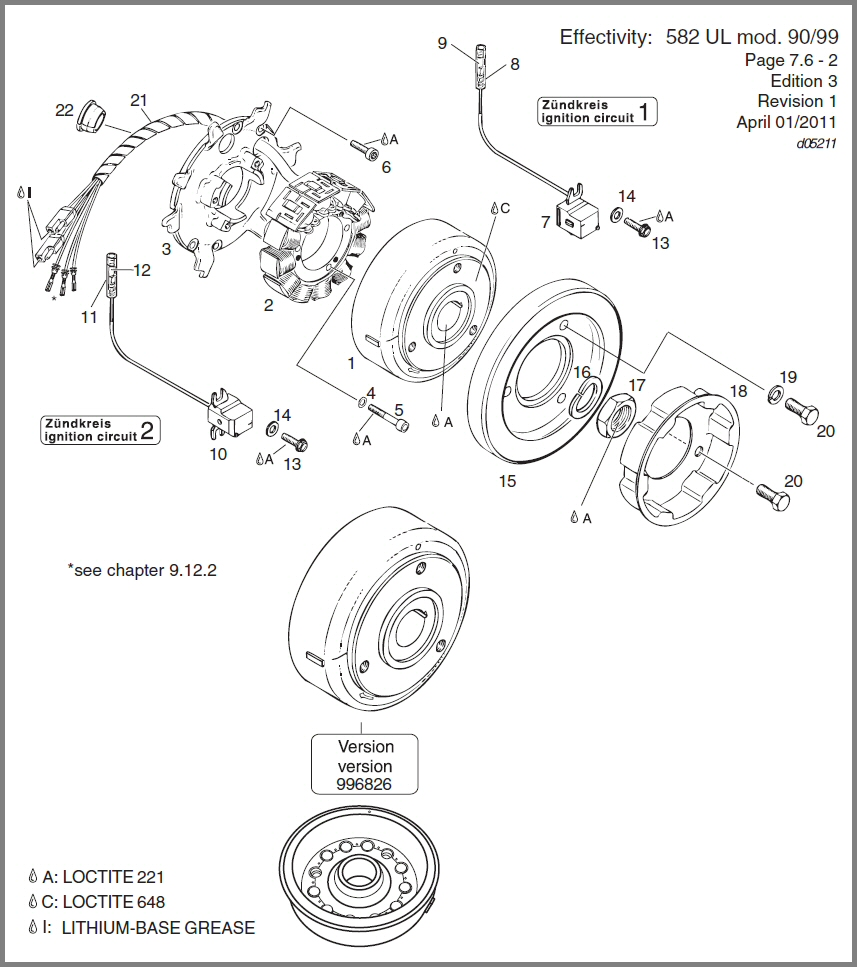 582 DUCATI MAGNETO GENERATOR 12V 170W, STARTING PULLEY DIAGRAM